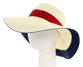 wholesale womens hats - packable straw sun hats - nautical colorblock pattern