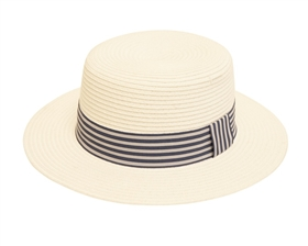 Wholesale Straw Boater Hats - White with Striped Band