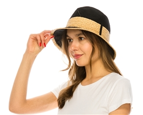 wholesale womens hats - packable fedora hat with raffia trim