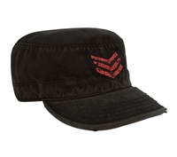 Rothco Black Red Sgt Stripes Vintage Cap - 4552