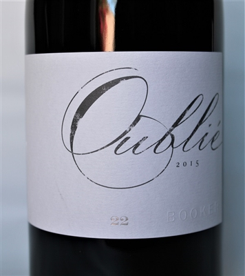 750ml bottle of 2015 Booker Wines Oublie 22 Mourvedre Grenache Syrah Counoise red blend from Paso Robles California aged 22 months in French oak