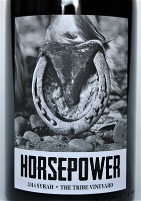750ml bottle of 2014 Horsepower Syrah from The Tribe Vineyard in Walla Walla Valley of Washington State