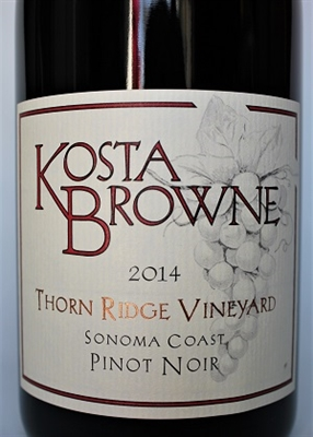 750ml bottle of 2014 Kosta Browne Pinot Noir from the Thorn Ridge Vineyard of Sonoma Coast California