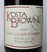750ml bottle of 2016 Kosta Browne Pinot Noir from the Gap's Crown Vineyard of Sonoma Coast California