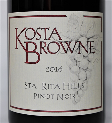750ml bottle of 2016 Kosta Browne Pinot Noir from the Sta. Rita Hills AVA of Santa Barbara County California