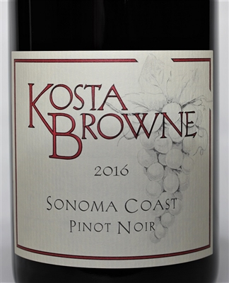 750ml bottle of 2016 Kosta Browne Pinot Noir from the Sonoma Coast of California