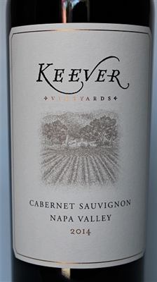 750ml bottle of 2014 Keever Vineyards Estate Cabernet Sauvignon of Yountville in Napa Valley California