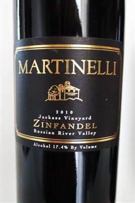 750ml bottle of 2010 Martinelli Jackass Vineyard Zinfandel red wine from Sonoma California