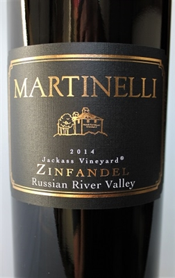 750ml bottle of 2014 Martinelli Jackass Vineyard Zinfandel red wine from Sonoma California