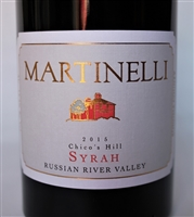 750 ml bottle of 2015 Martinelli Family Syrah Chico's Hill from the Russian River Valley of Sonoma County California