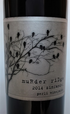 750ml bottle of 2014 Murder Ridge Zinfandel red wine from the Perli Vineyards on Mendocino Ridge in Mendocino County California