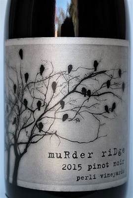 750ml bottle of 2015 Murder Ridge Pinot Noir red wine from the Perli Vineyards on Mendocino Ridge in Mendocino County California
