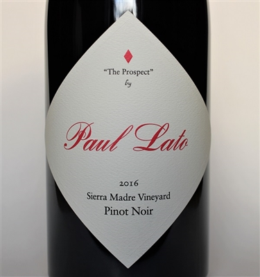 750ml bottle of 2016 Paul Lato The Prospect Pinot Noir from the Sierra Madre Vineyard in the Santa Maria Valley AVA of Santa Barbara County California
