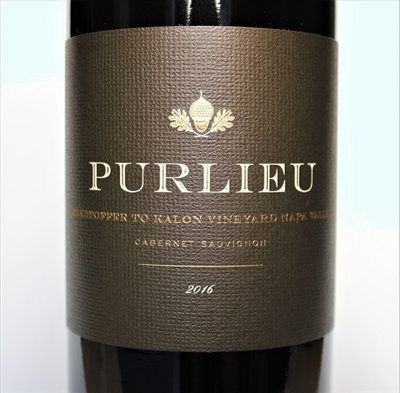 750 ml bottle of 2016 vintage Purlieu Wines Cabernet Sauvignon from the Beckstoffer To Kalon vineyard in Napa Valley California