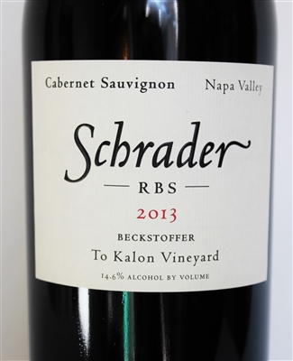 750 ml bottle of Schrader Cellars RBS Beckstoffer To Kalon Vineyard Cabernet Sauvignon from Napa Valley in California