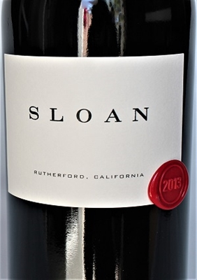 750ml bottle of 2013 vintage Sloan Estate proprietary red wine blend of Cabernet Sauvignon and Merlot from the Rutherford AVA of Napa Valley California
