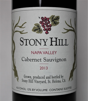 750 ml bottle of 2013 Stony Hill Vineyard Cabernet a red wine from the Spring Mountain District of Napa Valley California