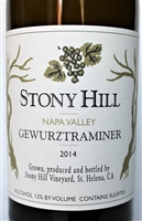750 ml bottle of Stony Hill Vineyard Gewurztraminer a dry white wine from the Spring Mountain District of Napa Valley California