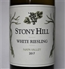 750 ml bottle of Stony Hill Vineyard White Riesling an off dry white wine from the Spring Mountain District and Carneros of Napa Valley California