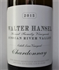 750 ml bottle of Walter Hansel Chardonnay Cahill Lane Vineyard Russian River Valley Sonoma California white wine