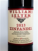 750 ml bottle of Williams Selyem Bacigalupi Zinfandel from the Russian River Valley of Sonoma California