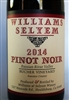 750 ml bottle of 2014 Williams Selyem Pinot Noir from the Bucher Vineyard in the Russian River Valley of Sonoma County California