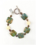 Made In Hawaii, Autumn Cottonwood Bracelet, Aqua Terra Jasper Gems, Chocolate Pearls, Honey Calcite, Sterling Silver