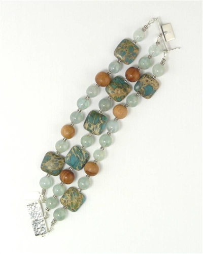 Made In Hawaii, Aqua Terra Treasure Bracelet I, Aqua Terra Jasper, African Jade, Koa hardwood and Sterling Silver
