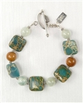 Made in Hawaii, Aqua Terra Treasure Bracelet II Aqua Terra Jasper, African Jade, Koa hardwood, Sterling Silver