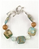Made In Kauai, Aqua Terra Treasure Bracelet III With Aqua Terra Jasper, African Jade, Koa hardwood, Sterling Silver