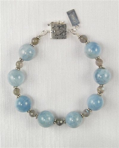 Made On Kauai Island By Thresh, Beautiful Waters Bracelet, Aquamarine, Labradorite, Sterling Silver
