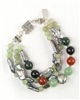 Made In Kauai, Tropical Forest Bracelet, Two Shades Of Green Jade, Carnelian. Black Onyx, Peacock Grey Biwa Pearls, Balinese Sterling Silver Bamboo Design Focal Bead