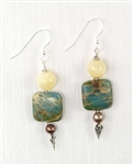 Made in Kauai, Autumn Cottonwood Earrings composed of Aqua Terra Jasper gems, Chocolate pearls, Honey Calcite, Sterling Silver