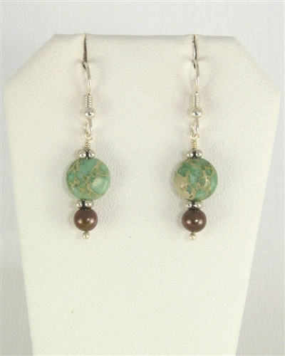 Made in Kauai, Aqua Terra Earrings composed of Aqua Terra Jasper gems, Chocolate pearls, Sterling Silver