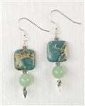 Made in Kauai, Aqua Terra Treasure Earrings II, Aqua Terra Jasper, African Jade, Sterling Silver