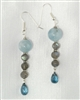 Made On Kauai Island By Thresh, Beautiful Waters Earrings, Aquamarine, Blue Topaz, Labradorite, Sterling Silver