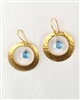 Made on Kauai Island, Hoops of Gold-Swiss Blue Topaz Earrings, Swiss Blue Topaz, 24k Gold Vermeil Over Sterling Silver Base