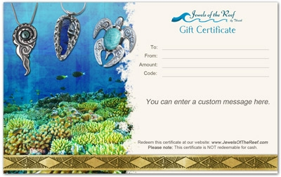 Original Tropically Inspired Jewelry Art Gifts, Made On Kauai Island By Thresh, Gift Certificates Of Any Value