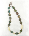 Made On Kauai Island By Thresh, Autumn Cottonwood Necklace-Aqua Terra Jasper Gems, Chocolate Pearls, Honey Calcite, Sterling Silver