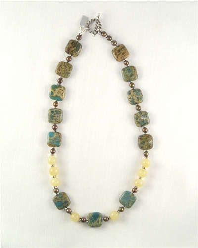 Made On Kauai Island By Thresh, Autumn Cottonwood Necklace I, Aqua Terra Jasper Gems, Chocolate Pearls, Honey Calcite, Sterling Silver