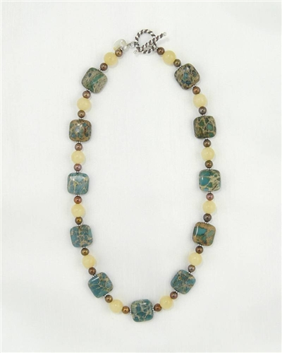 Made On Kauai Island By Thresh, Autumn Cottonwood Necklace II, Aqua Terra Jasper Gems, Chocolate Pearls, Honey Calcite, Sterling Silver