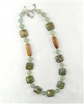 Made In Kauai Aqua Terra Treasure Necklace II Aqua Terra Jasper, African Jade, Rum Rum Hardwood, Sterling Silver