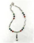 Made In Kauai, Tropical Forest Necklace, Two Shades Of Green Jade, Carnelian. Black Onyx, Peacock Grey Biwa Pearls, Balinese Sterling Silver Bamboo Design Focal Bead & Bail