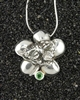 Made In Kauai, Garden Isle Pendant-Natural Green Tsavorite Garnet Gemstone, Solid Sterling Silver, Sculpture Of Kauai Island Hawaii And Plumeria Flower, Original Signed Sculpture By Thresh