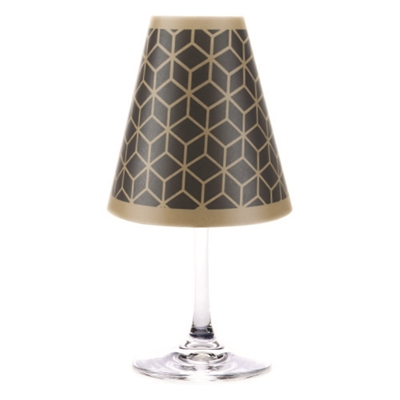 Modern geometric 3D line pattern paper white wine glass shades.