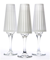 His Tux paper champagne glass shades. Black or White striped pattern on white background.