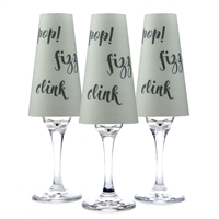 Pop Fizz Clink Paper Champagne Glass Shades. Text on Rose or Gray background.