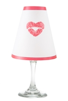 Kiss pattern translucent paper white wine glass shades.  Available in red.  Made in the USA.