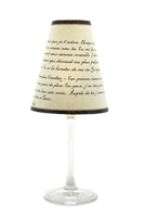 Love Poem translucent paper white wine glass shades by di Potter.  Red wine glass size also available.  Made in the USA