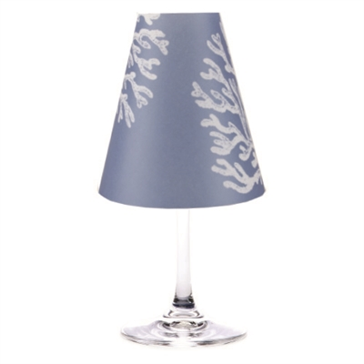 Reef translucent paper White Wine Glass Shades by di Potter. Available in fog gray, sea blue and whitewash.  Made in the USA.  For use with flameless tea lights.